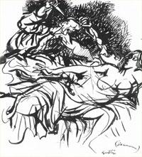 Gianni da Procida e Restituta D'Ischia, Decameron V 6, immagine di Renato Guttuso