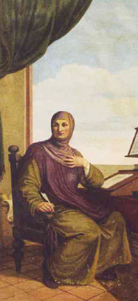 Giovanni Boccaccio in un affresco della Casa del Boccaccio