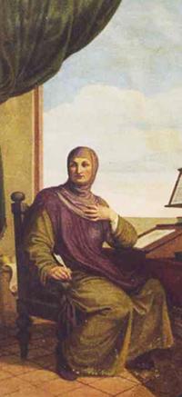Giovanni Boccaccio in un affresco della Casa del Boccaccio