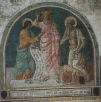 San Tommaso nel porre il dito nel Costato del Salvatore, affresco del 1490 di Benozzo Gozzoli